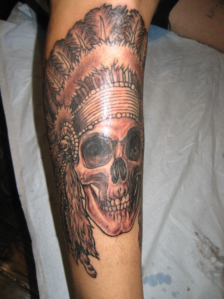 Tattoo Indian Chief Head Dress Skull