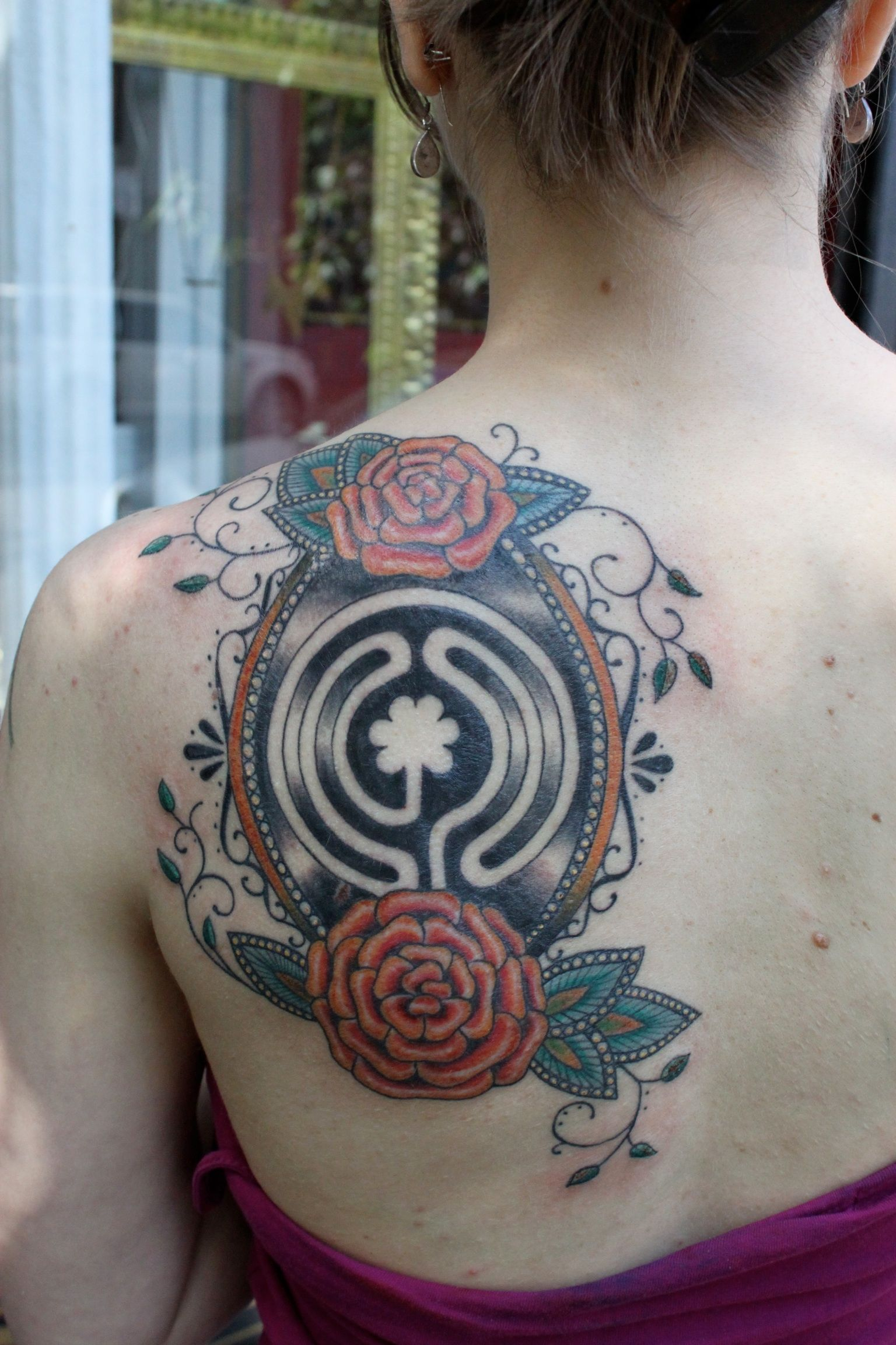Labyrinth Tattoos: Flower And Labyrinth Tattoo By The Lovely Karen!!